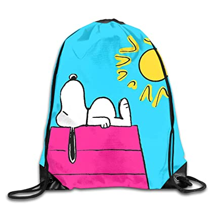 553d85314d6d84 Image Unavailable. Image not available for. Color  Meirdre Unisex Sunny Day Snoopy  Sports Drawstring Backpack Gym Bag
