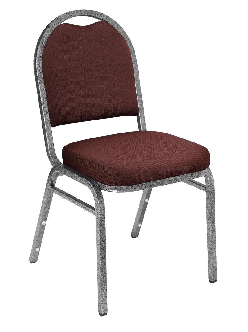 NPS 9258-SV-CN Fabric Dome Back Stack Chair with Steel Silvervein Frame, 300-lb Capacity, 18'' Length x 20'' Width x 34'' Height, Rich Maroon (Carton of 4)