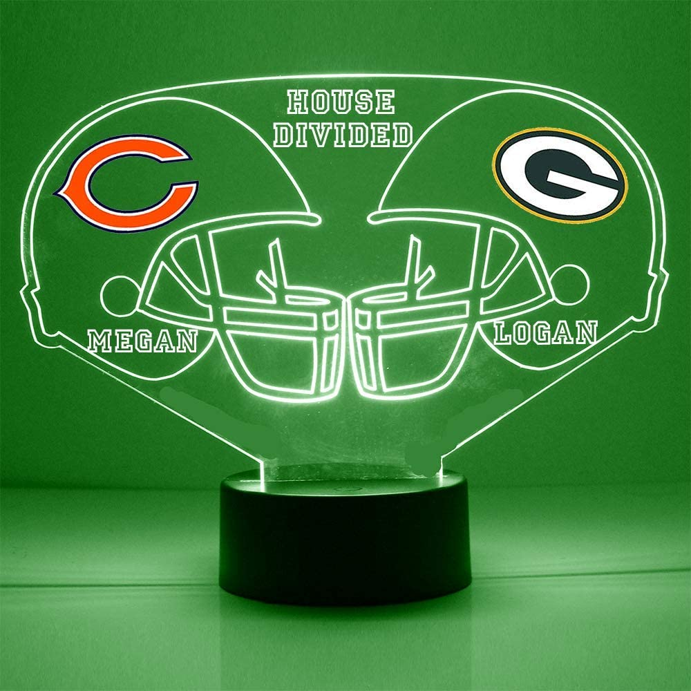 "Bears (Chicago) vs Packers (Green Bay) Football Helmet Sports Fan Lamp/Night Light -""A House Divided"" - LED - Personalize for Free - Featuring Licensed Decals"
