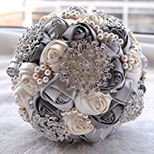 Wedding Flowers Bridal Bouquets Elegant Pearl Bride Bridesmaid Wedding Bouquet Crystal Sparkle (gray)
