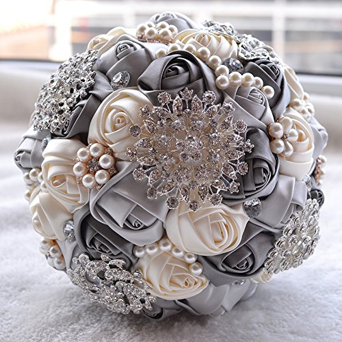 Wedding Flowers Bridal Bouquets Elegant Pearl Bride Bridesmaid Wedding Bouquet Crystal Sparkle (gray)