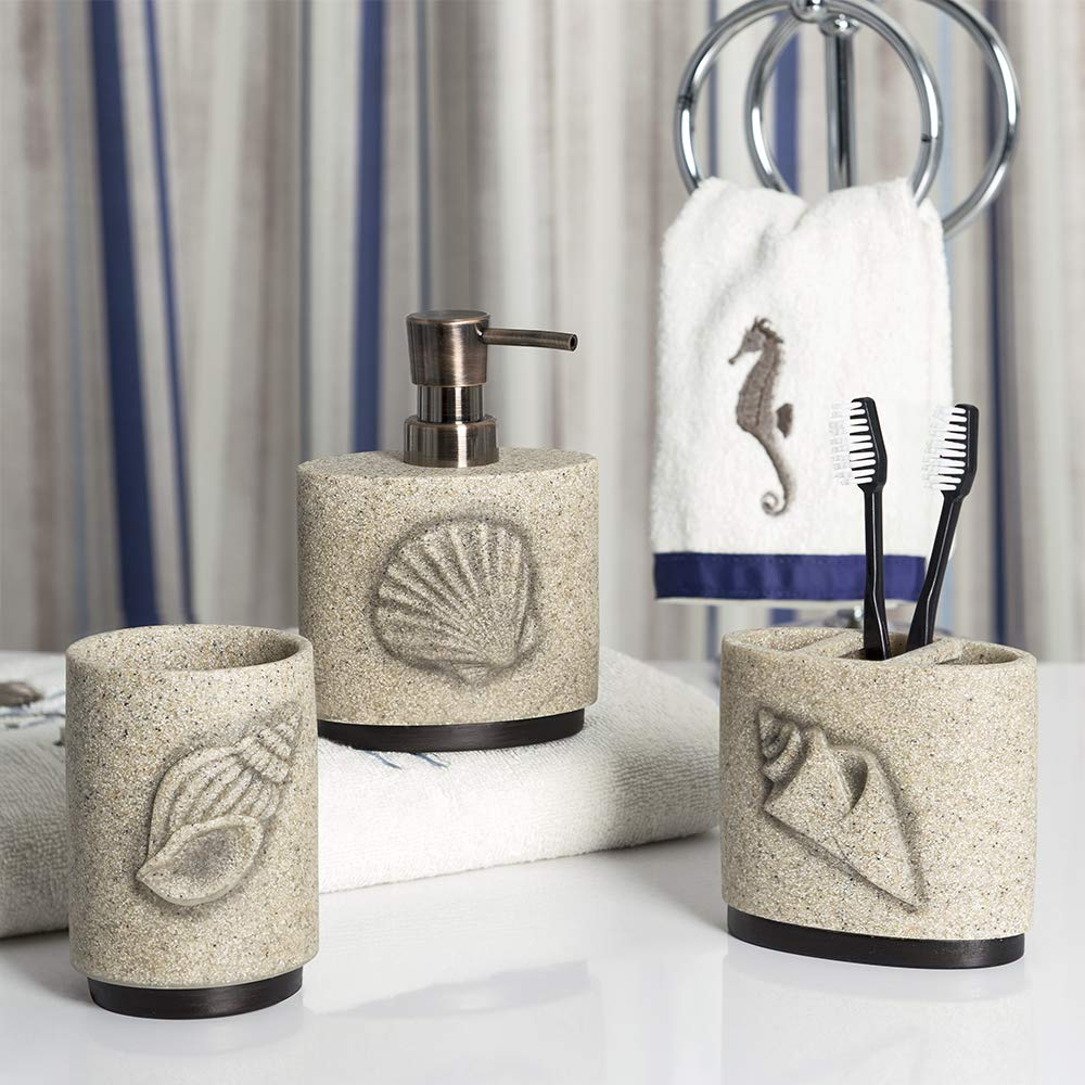 Allure Home Creations Folly Beach Lotion Pump/Toothbrush Holder/Tumbler 3Pc Set