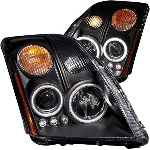 AnzoUSA 121276 Black Clear Projector Headlight with Amber Reflector for Nissan Sentra - (Sold in Pairs)