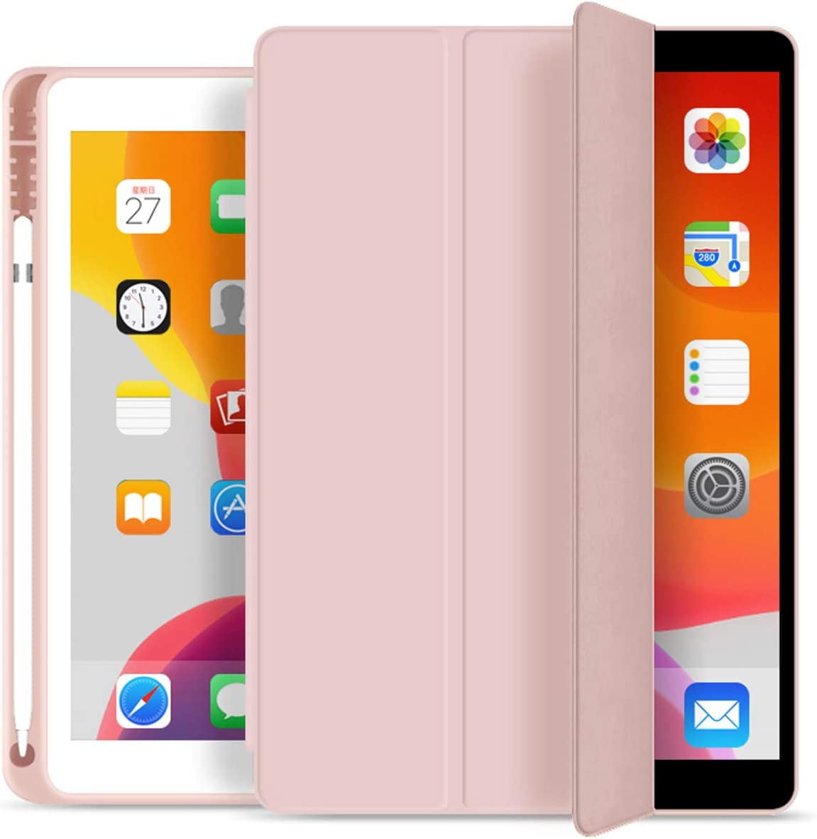 KenKe iPad 7th/8th Gen Case with Pencil Holder,iPad 10.2 inch Lightweight Smart Cover Soft TPU Back,Auto Sleep/Wake for 10.2 New iPad 8th Generation Case 2020 iPad 7th Generation Case 2019 -Pink