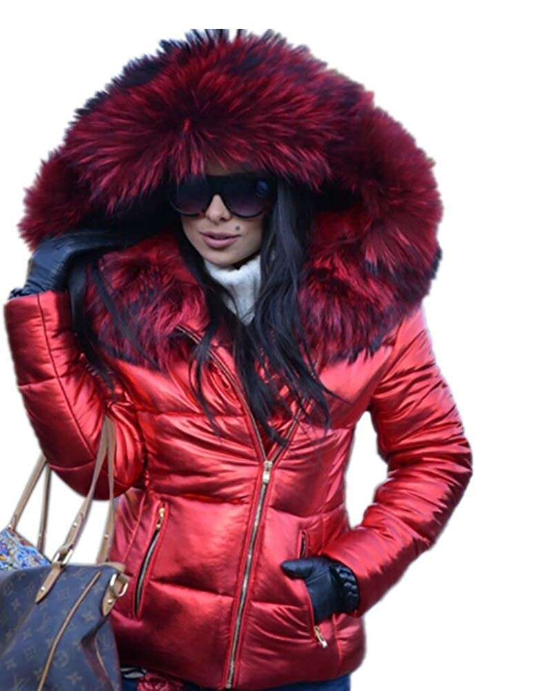 Aox Women Winter Faux Fur Hood Down Coat Lady Thicken Puffer Zipper Jacket Parka Aox D002