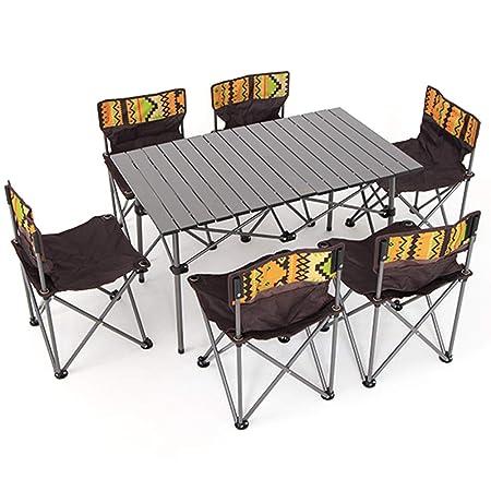 OTENGD Mesas auxiliares de Camping portátiles con Mesa de Aluminio ...