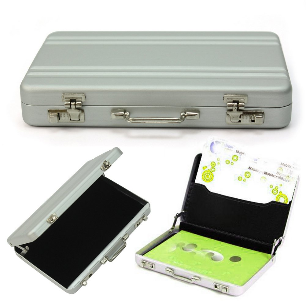 Durable mini aluminum metal briefcase suitcase business name card durable mini aluminum metal briefcase suitcase business name card holder case amazon office products colourmoves