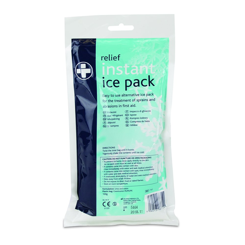 Reliance Medical 710-60 Relief Instant Cold Ice Pack, 9.5'' Height, 1.5'' Width, 5'' Length (Pack of 60)
