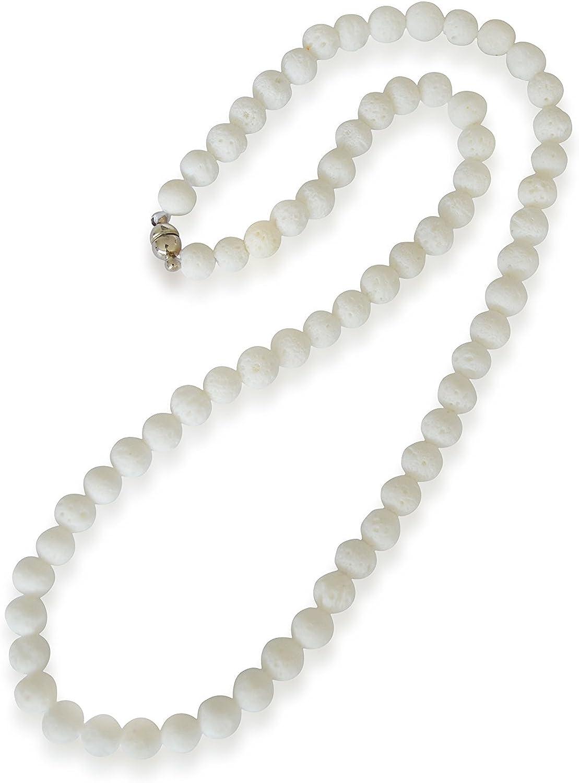 Coral collar, natural, blanco, esférico, 6mm