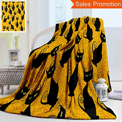 Unique Custom Warm 3D Print Flannel Blanket Vintage Decor Black Cat Pattern for Halloween On Orange Background Celebration Gift Graph Cozy Plush Supersoft Blankets for Couch Bed, Twin Size 60