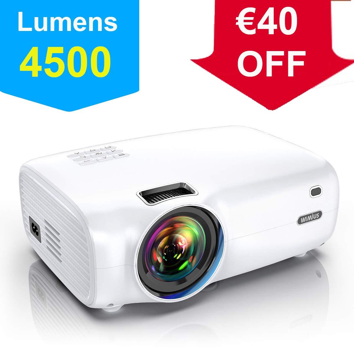 Proyector, WiMiUS 4500 Lúmenes Proyector Portátil Full HD Soporta ...