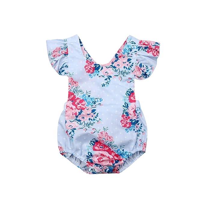 Amazon.com: Bebé niña volantes floral mameluco recién nacido ...