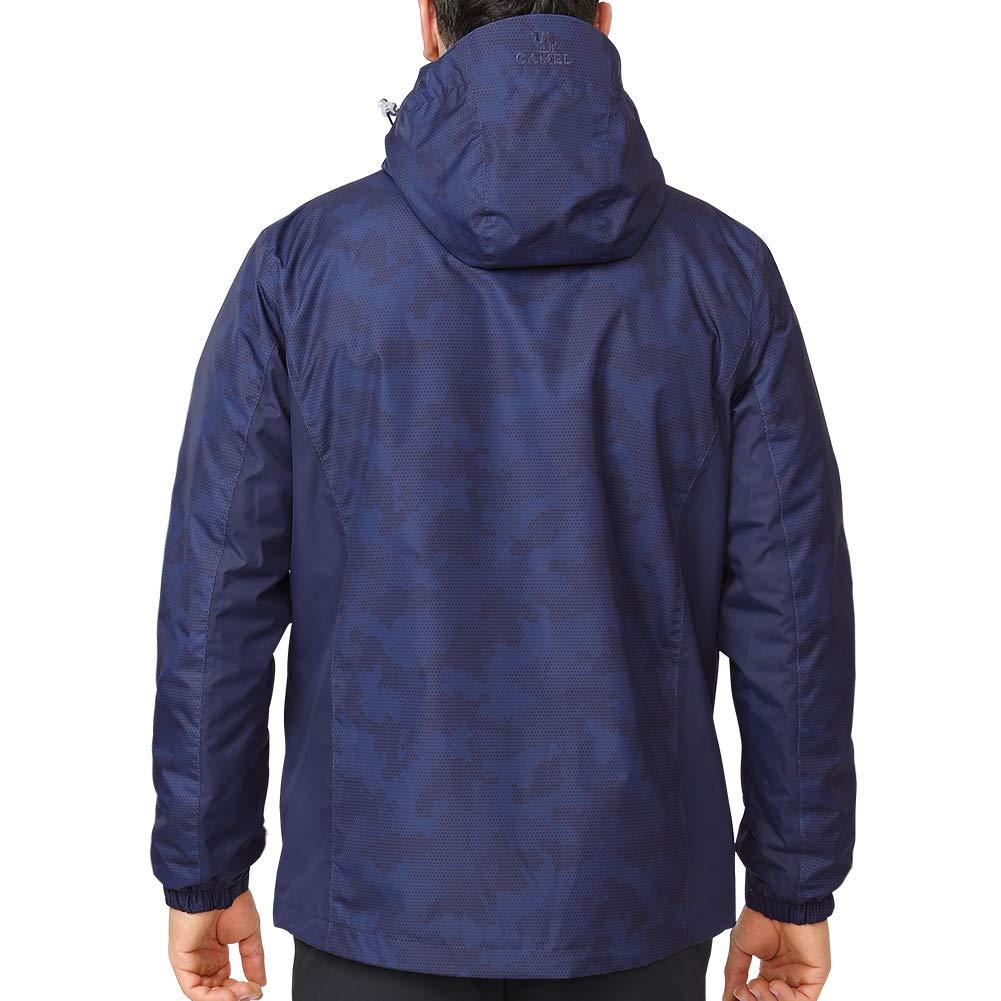 CAMEL CROWN Chaqueta de Esqu/í Impermeable para Hombre 3 en 1 con Capucha Extra/íble Inner Chaqueta Forro Polar para Monta/ña C/ámping Viajes