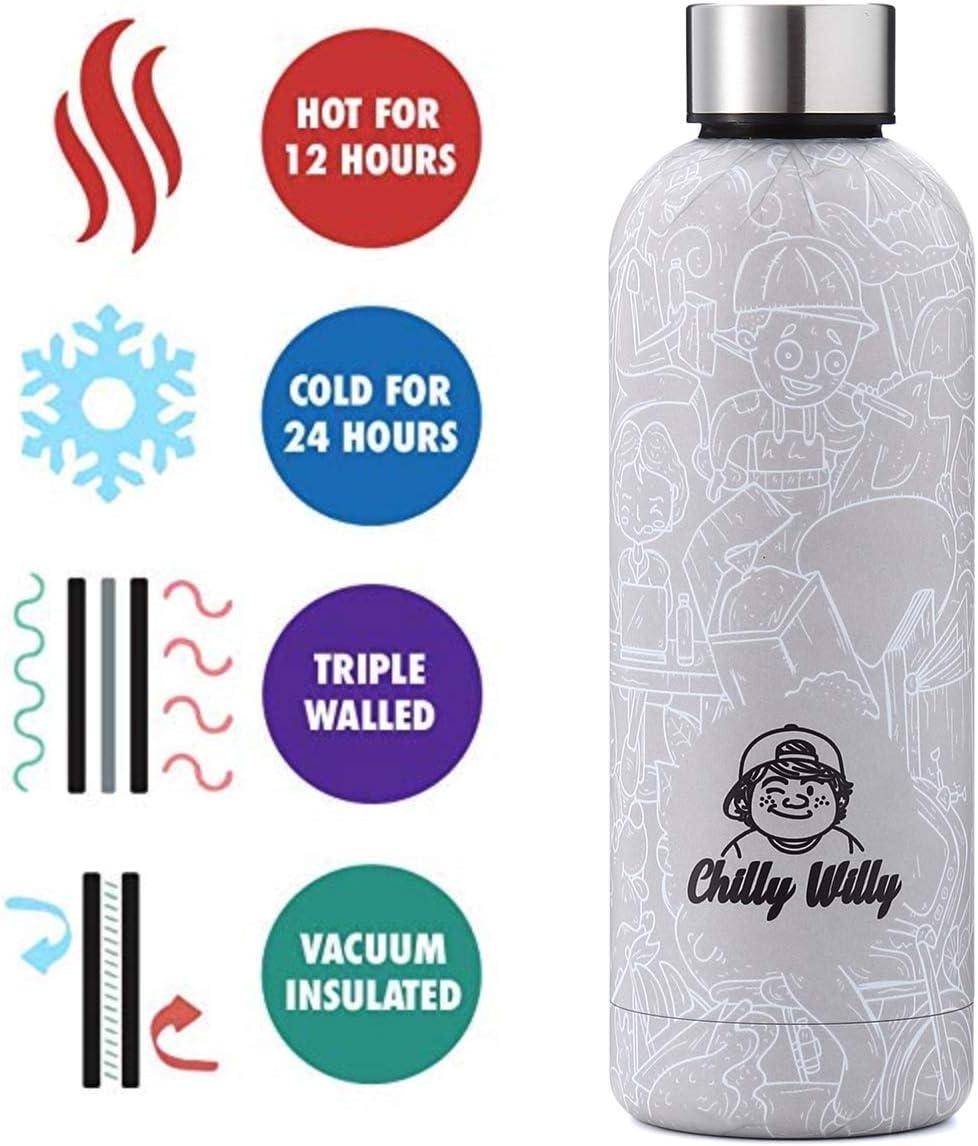 SOSTENIBLE Aislamiento al Vac/ío Doble Pared Aislado   A Prueba DE DERRAMES Botella Reutilizable de Acero Inoxidable 500ml Control de Temperatura Chilly Willy Botellas de Agua