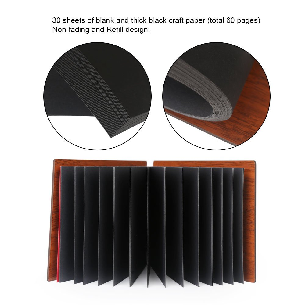 Farway DIY Photo Album Wood Cover Anniversary Scrapbook Album Picture Book with Black Pages for Wedding Guest Book Family Couples Graduation Travel Love Story Memory (Our Story) by Farway (Image #5)