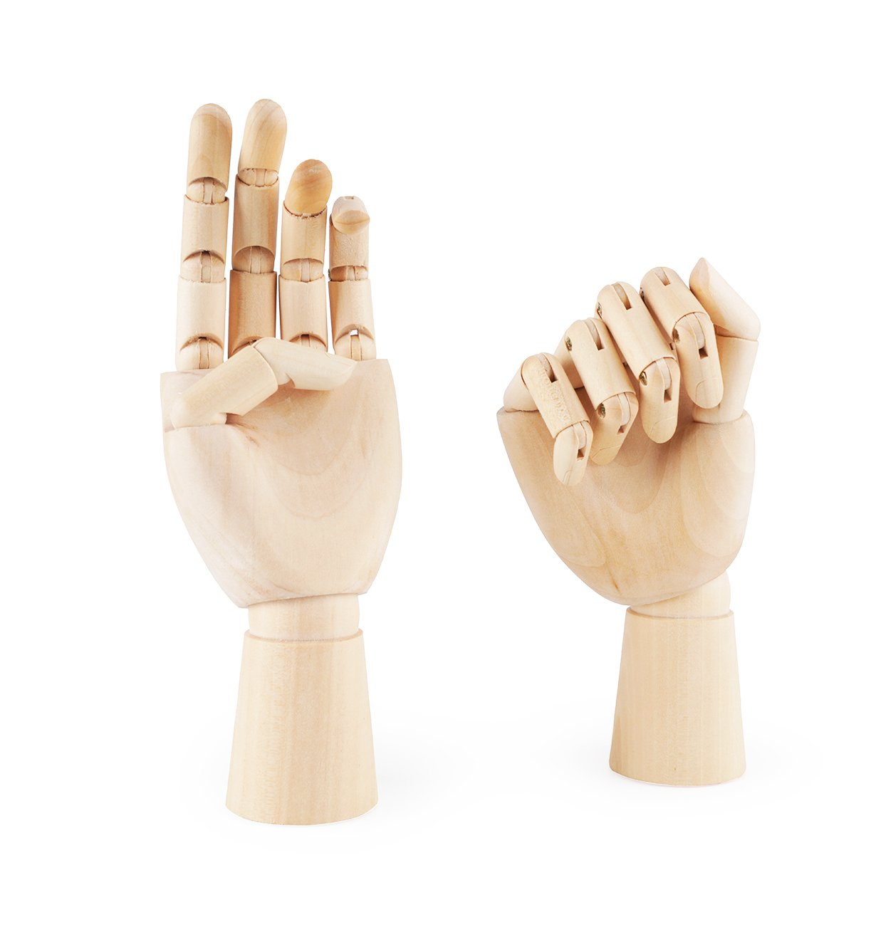 Fashionclubs 7'' Wooden Sectioned Opposable Articulated Left/Right Hand Figure Manikin Hand Model for Drawing, Sketching, Painting (Left+Right Hand)