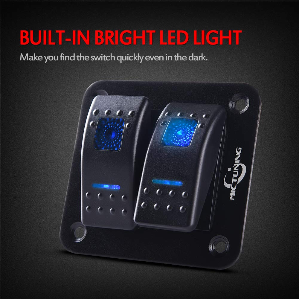 MICTUNING 2 Gang Rocker Switch Panel with Blue LED Light 12 24V 5 Pin On Off Toggle Switch for Car Boat Trunk