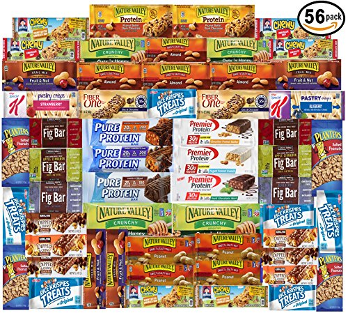 Ultimate Healthy Fitness Box - Protein & Healthy Granola Bars Sampler Snack Box (56 Count) - Care Package - Gift Pack - Variety of Fitness, Energy Bars and Premier Protein Bars. (Sampler Snacks)