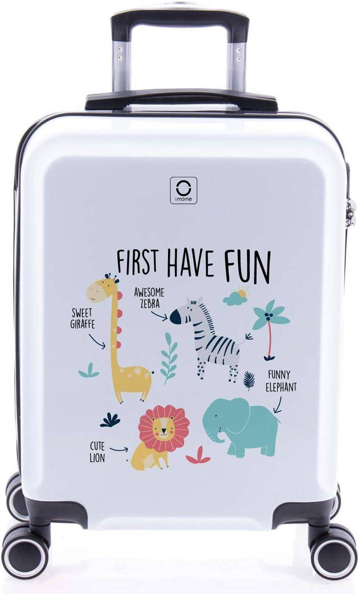 imome Cool Maleta de Cabina Infantil First Have Fun 55x40x20 cm | Equipaje de Mano, Trolley de Viaje Ryanair, Easyjet | Maleta de Viaje Rígida Divertida Animales Juvenil