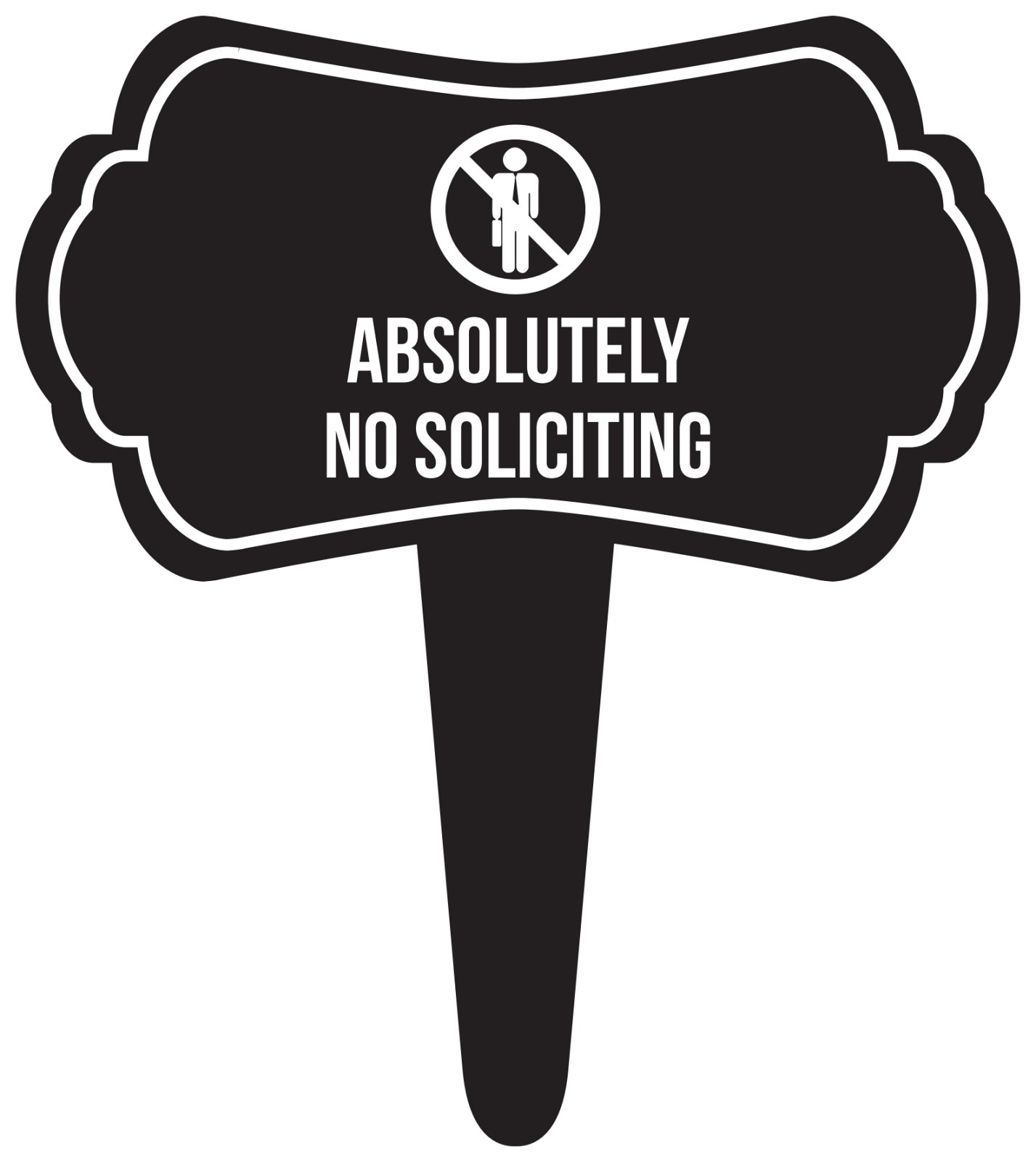 iCandy Combat Absolutely No Soliciting Home Yard Lawn Sign, Black, 16x18, Single
