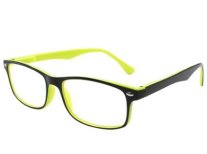 TBOC Gafas de Lectura Presbicia Vista Cansada – Graduadas +2.00 Dioptrías Montura de Pasta Bicolor Amarilla y Negra Diseño Moda para Hombre Mujer ...