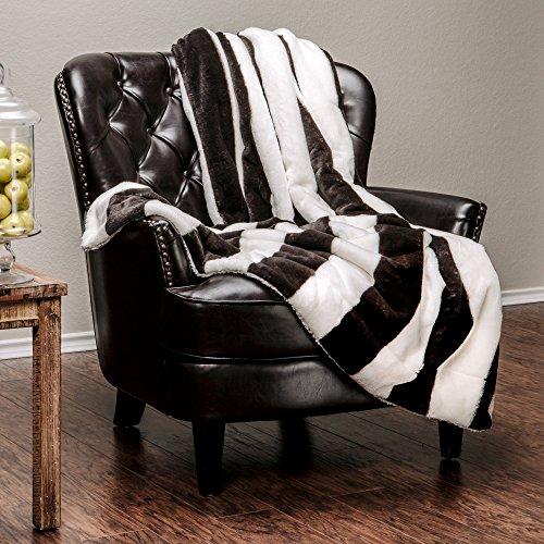 White Velvet Design (Chanasya Super Soft Fuzzy Faux Fur Stripe Print White and Black Sherpa Sofa Couch Bed Microfiber Throw Blanket( 50