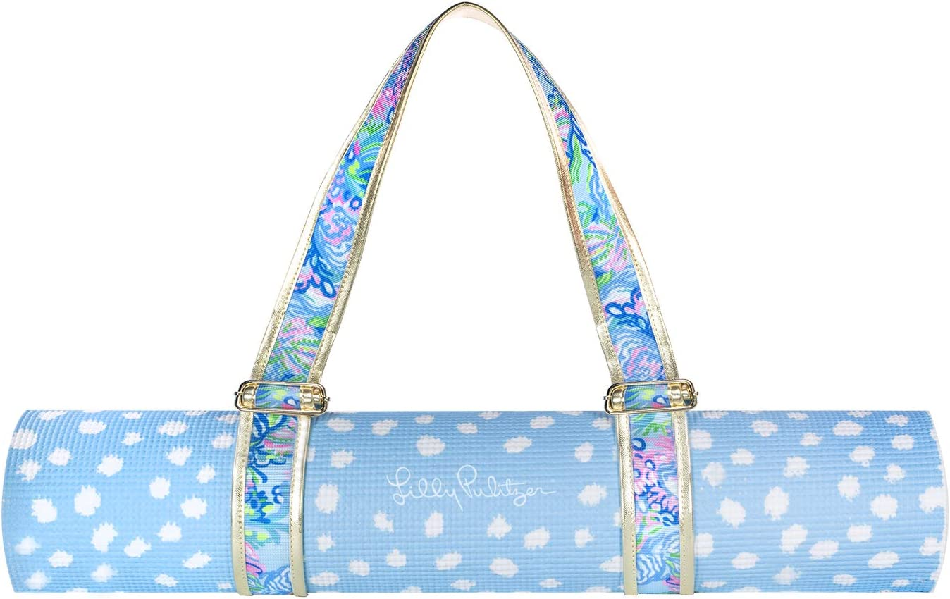 Lilly Pulitzer Women's Yoga Exercise/Fitness Mat with Travel Carrying Strap