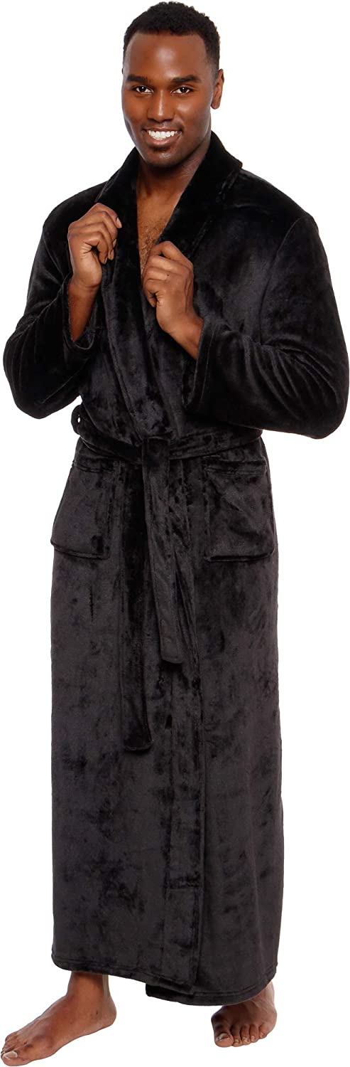 Ross Michaels Mens Lightweight Cotton Terry Robe Luxury Bathrobe w//Contrast Piping