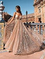 Goldenfox Women Sequin Bridesmaid Dress Deep- V Neck Sleeveless Maxi Evening Dresses