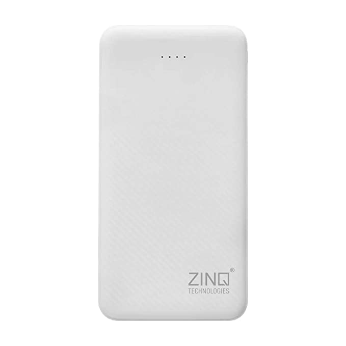 Zinq 20000mAh Li-Polymer Power Bank with 12W Fast Charge Type C & Micro USB Input ZQ20KPC (White)