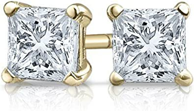 0.50CT Color JKLM,Clarity I2//I3 IGI Certified Solitaire 14k Gold Diamond Earrings 0.15CT
