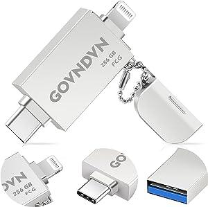 GOVNDVN 3 in 1 iPhone-Photo-Stick, 256GB Apple MFi Certified One-Click Backup USB 3.0 Flash-Drive, Encryptable Photo-Stick Memory-Stick Backup Memory Stick for iPhone, iPad, Type-C Phone, PC (1PCS)