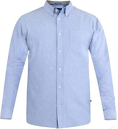 Duke D555 Hombre Talla Grande Keenan Oxford Algodón Botón Abajo Camisa - Azul Cielo, Talla - 7XL- 65-67