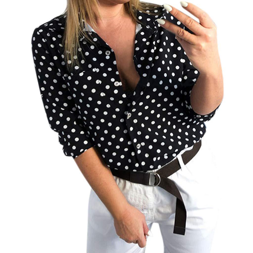 wodceeke New Women Summer Half Sleeve Shirt,Fashion Dot Print Casual Button Down Blouse Tee Top (Black, S)