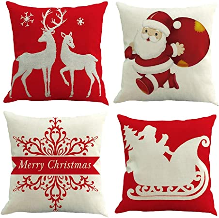 Gspirit 4 Pack Navidad Santa Claus Elk Algodón Lino Throw Pillow ...