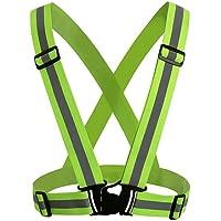 Seroda Reflectante Chaleco, Seguridad Alta Visibilidad Running Cinturon Para Paseos Ciclismo Deportes al Libre Ajustable Todos Los Tamaños (Green)