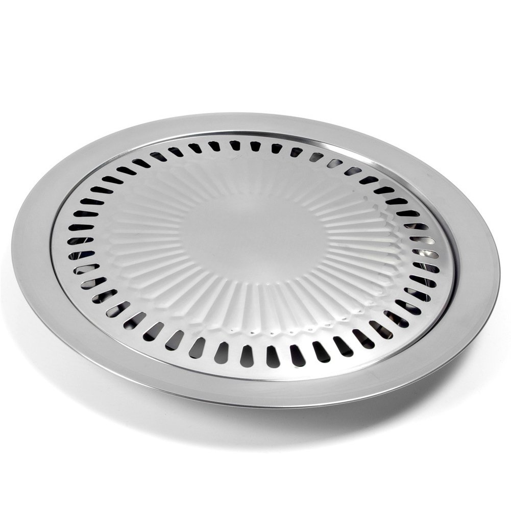 Korean Style Stovetop,Stainless Steel Non-Stick Roasting Round Barbecue Grill Pan for Indoor Outdoor Camping BBQ, Cooking Delicious Roasting Food(30cm x 30cm x 2.8cm)