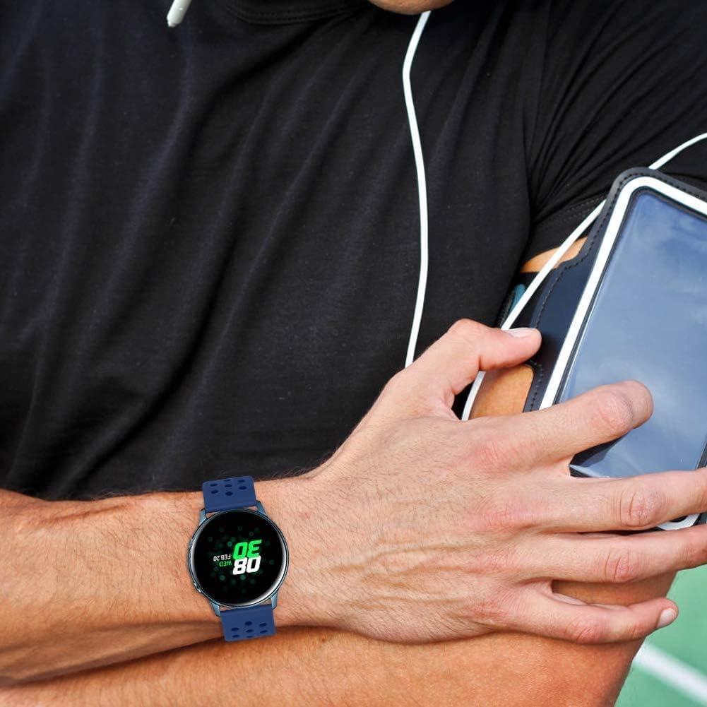 Gransho Bracelet Montre Silicone 18mm 20mm 22mm, Replacement Bande Bracelet Chaîne de Montre avec Fermoir en Métal Réglable Bleu Foncé