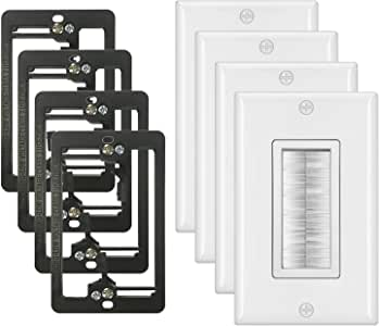 [4 Pack] BESTTEN 1-Gang Brush Wall Plate with Low Voltage Mounting Bracket, Cable Passthrough Insert for Speaker Wire, Coaxial Cable, HDMI/HDTV Cable, Network/Phone Cable, Standard Size, White