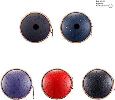 Yoga and Zen Compact Percussion Instrument with Rope Decoration and Mallets CCDYLQ Professional Steel Tongue Drum 13 Inch 15-Tone Pan Hand Drum for Meditation