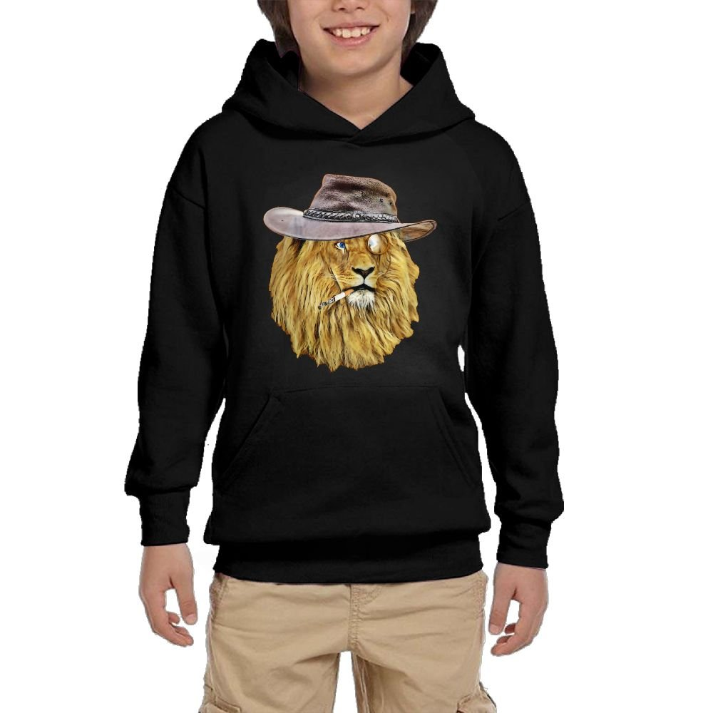 GLSEY Lion Wearing A Hat Youth Soft Pullovers Hooded Sweatshirts Long Sleeve