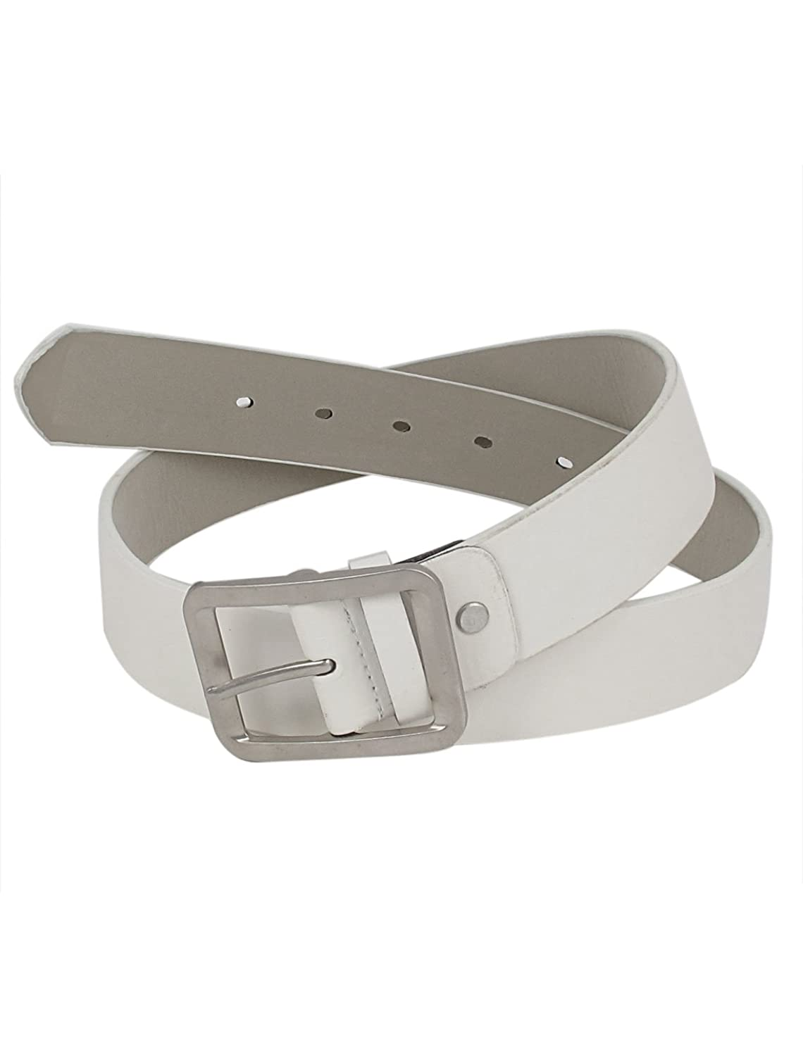 uxcell Metal Faux Leather Lady Buckle Waist Belt Waistbelt 3.5cm Width White