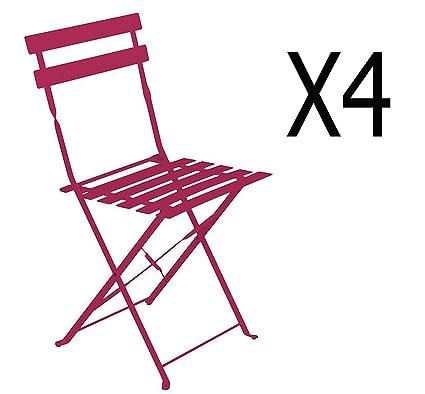 Lote de 4 sillas plegables (acero, color frambuesa - Dim: 42 ...