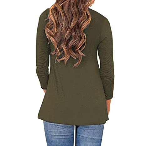 AOJIAN Blouse Women Long Sleeve T Shirt Turtleneck Button Asymmetrical Tees Tank Shirts Tops at Amazon Womens Clothing store: