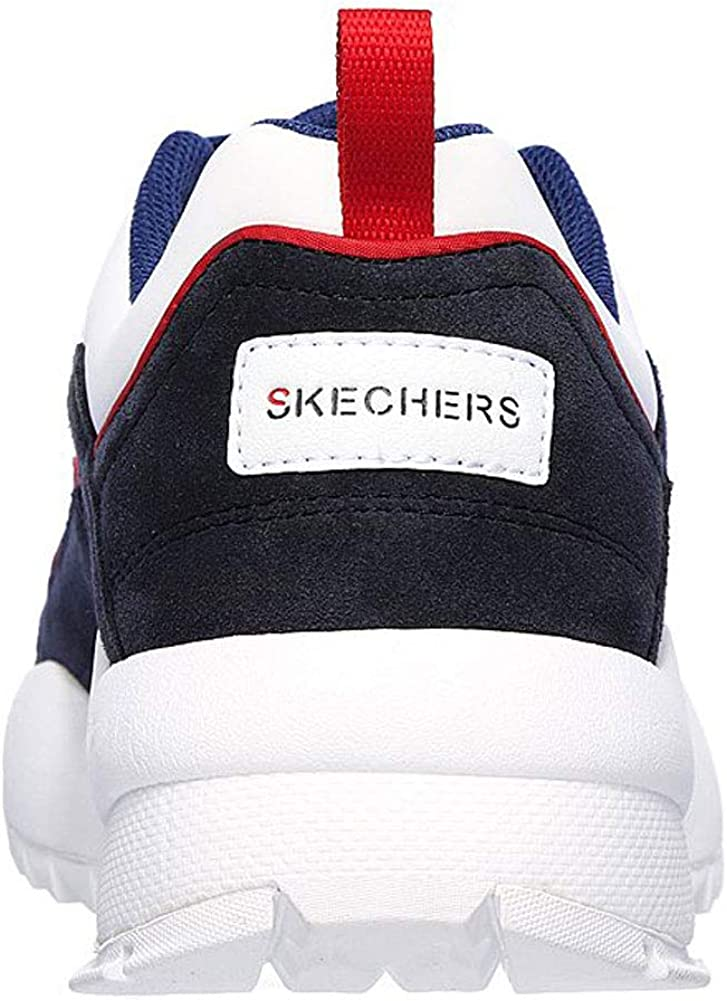 Skechers Men's Tidao Lace Overlay Jogger Low Top Sneaker Shoes White/Navy White
