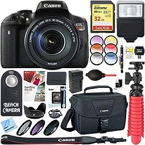 Canon EOS Rebel T6i Digital SLR Camera with EF-S 18-135mm IS STM Lens Memory & Flash Accessory Bundle