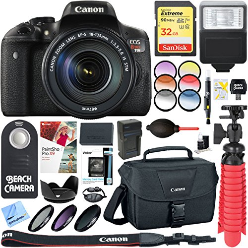 Canon EOS Rebel T6i Digital SLR Camera with EF-S 18-135mm IS STM Lens Memory & Flash Accessory Bundle