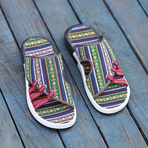 Xing Lin Sandali Di Cuoio Pantofole Maschio Estate Estate E Scanalata Antiscivolo Scarpe Da Spiaggia Tide Uomini Sandali Uomini Grandi Vento Etnica Cool Pantofole Scarpe Dimensione Nazionale 39,191 Ve