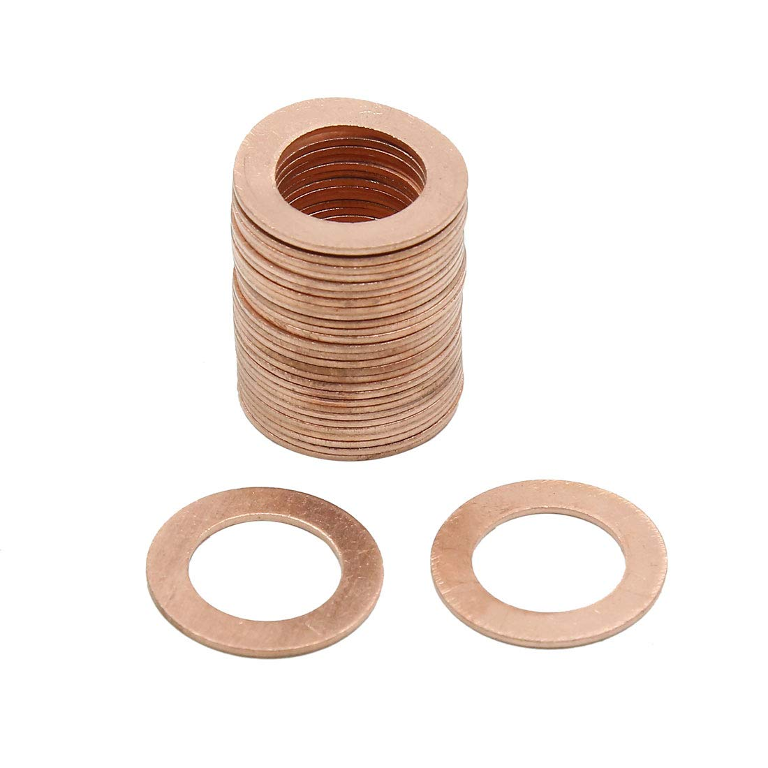 X AUTOHAUX 15mm Inner Dia Copper Crush Washers Car Flat Sealing Plate Gaskets Rings 30pcs by X AUTOHAUX (Image #1)
