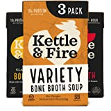 Bone Broth Variety Pack, Mushroom Chicken, Beef, and Chicken by Kettle and Fire, Keto Diet, Paleo Friendly, Whole 30 Approved, Gluten Free, with Collagen, 10g of Protein (Pack of 3)